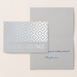 Silver Meander Pattern Season's Greetings Foil Card