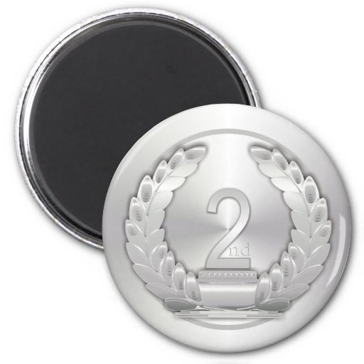 Silver Medal 2 Inch Round Magnet