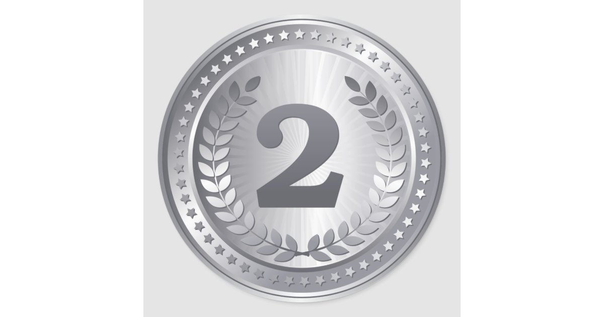 Silver Medal 2nd Place Winner Classic Round Sticker