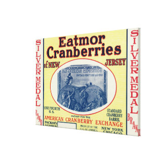 Silver Medal Eatmor Cranberries Brand Label Stretched Canvas Print