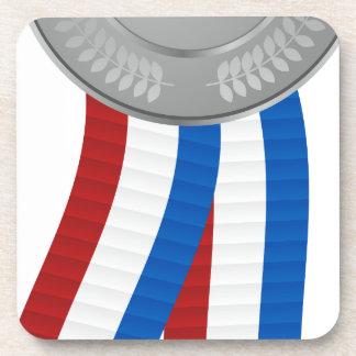 Silver Medal Icon Beverage Coasters