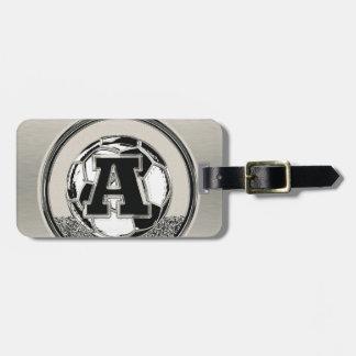 Silver Medal Soccer Monogram Letter A Bag Tag