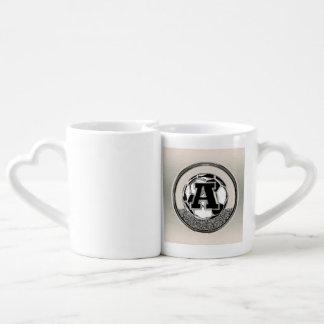 Silver Medal Soccer Monogram Letter A Coffee Mug Set