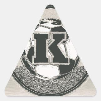 Silver Medal Soccer Monogram Letter K Triangle Sticker