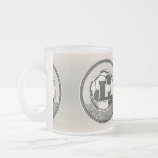 Silver Medal Soccer Monogram Letter L Frosted Glass Coffee Mug