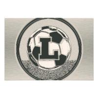 Silver Medal Soccer Monogram Letter L Invites