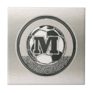 Silver Medal Soccer Monogram Letter M Ceramic Tile