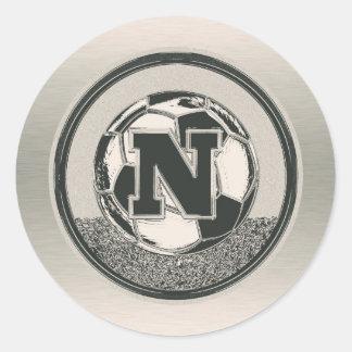 Silver Medal Soccer Monogram Letter N Classic Round Sticker
