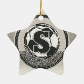 Silver Medal Soccer Monogram Letter S Christmas Tree Ornament