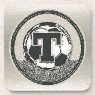 Silver Medal Soccer Monogram Letter T Beverage Coaster