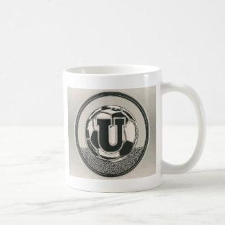 Silver Medal Soccer Monogram Letter U Coffee Mug