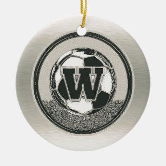 Silver Medal Soccer Monogram Letter W Ceramic Ornament