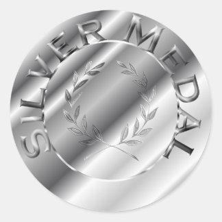 Silver Medal Round Sticker