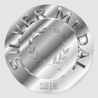 Silver Medal with year option Classic Round Sticker