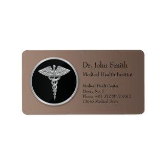 Silver Medical Caduceus - Address Label