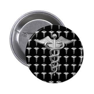 Silver Medical Caduceus Button