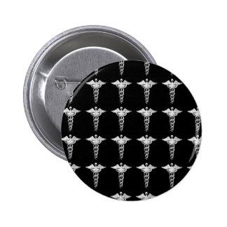Silver Medical Caduceus Buttons