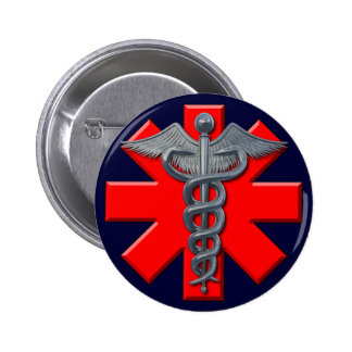Silver Medical Profession Symbol Pinback Button