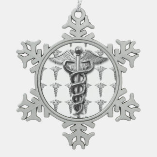 Silver Medical Profession Symbol Snowflake Pewter Christmas Ornament