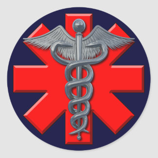 Silver Medical Profession Symbol Classic Round Sticker