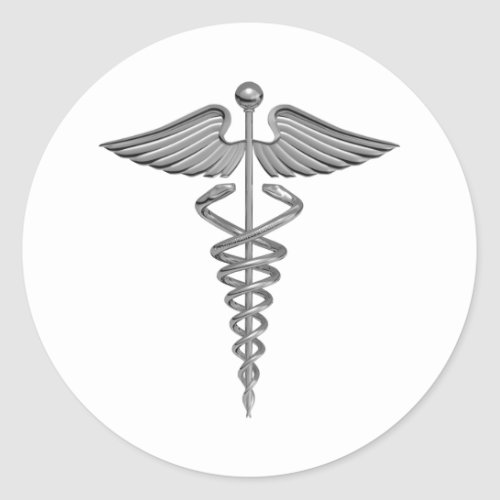 Silver Medical Symbol Classic Round Sticker