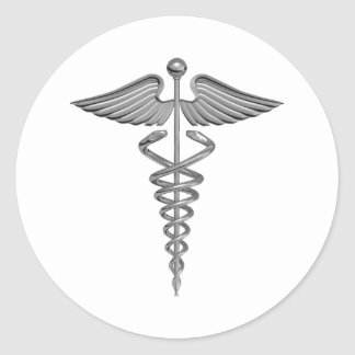Silver Medical Symbol Classic Round Sticker