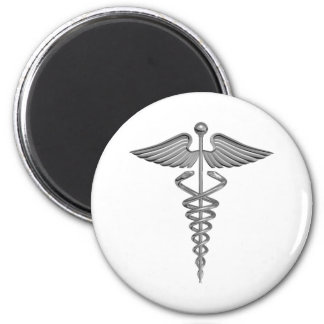 Silver Medical Symbol 2 Inch Round Magnet