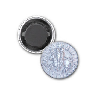 Silver Medieval Seal of the Knights Templar 1 Inch Round Magnet