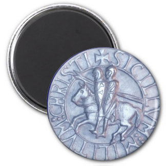 Silver Medieval Seal of the Knights Templar 2 Inch Round Magnet