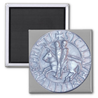 Silver Medieval Seal of the Knights Templar 2 Inch Square Magnet