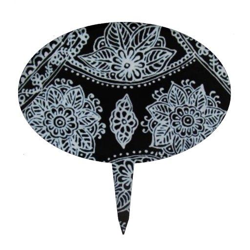 Mehndi Cake Topper : Silver mehndi henna cake topper zazzle