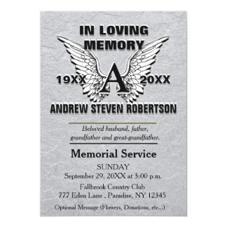Silver Memorial Invitation | Angel Wings