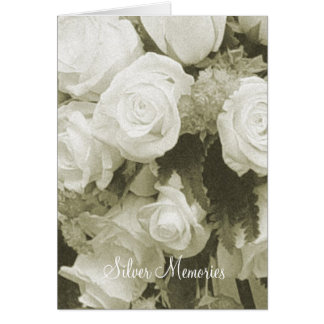Silver Memories Sepia Roses Anniversary Card
