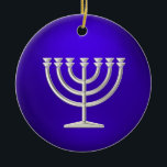 "Silver Menorah Hanukkah Ornament<br><div class=""desc"">Holiday Decor and Gifts by Tailored Type. I am more than happy to help you with your Zazzle experience. For example, do you like the design but need a different color? Need help with the Zazzle editor? No problem! Email me: carrie at tailoredtype dot com You can also use the...</div>"