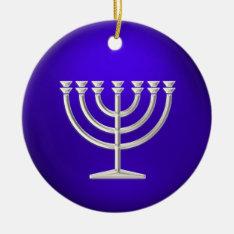 Silver Menorah Hanukkah Ornament at Zazzle