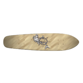 Silver Mermaid in the Sand Decor Skateboard Deck