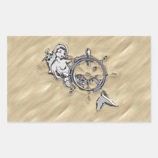 Silver Mermaid in the Sand Rectangular Sticker