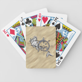 Silver Mermaid in the Sand Scene Bicycle Playing Cards