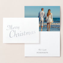 Silver Merry Christmas Family Photo Foil Card