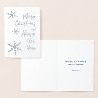Silver Merry Christmas Happy New Year Snowflakes Foil Card