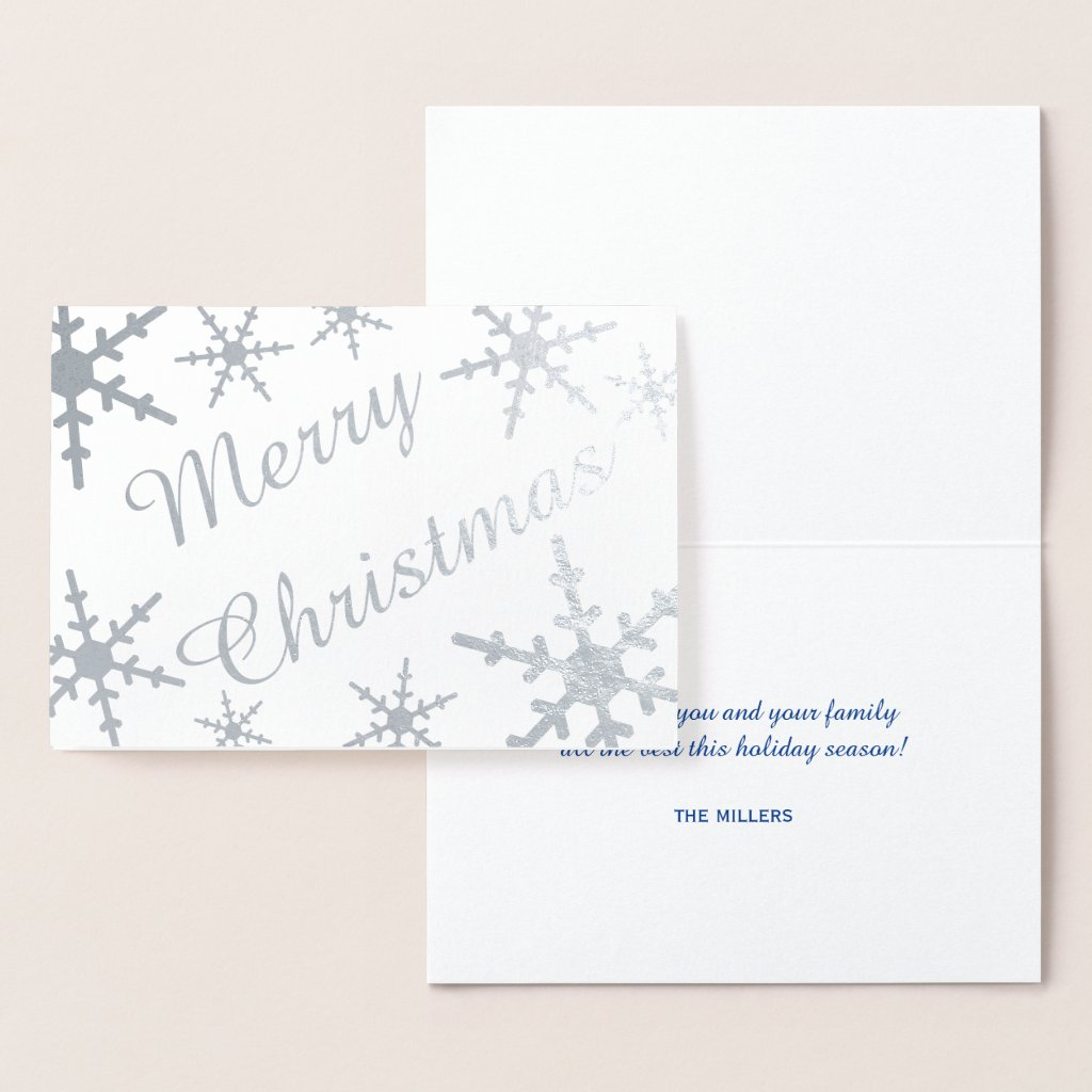 Silver Merry Christmas Script Snowflakes Foil Card