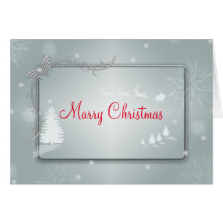 Silver Merry Christmas Tree with Raiding Reindeer Card