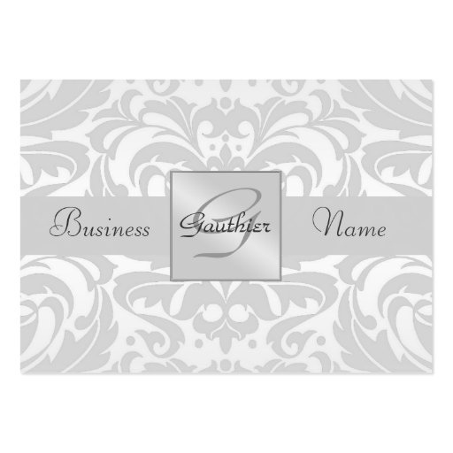 Silver Metal Damask Silver Ribbon Business Card