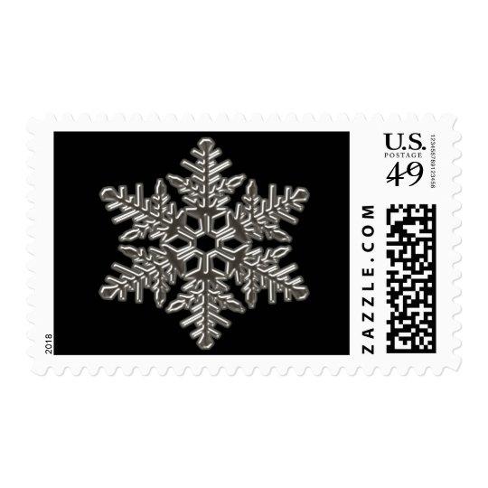 Silver Metal Deco Snow Fall Snowflakes Postage