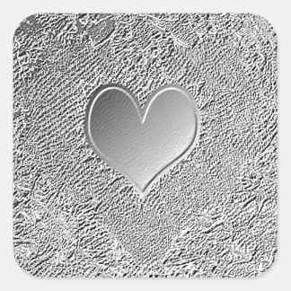 Silver Metal Heart Square Sticker