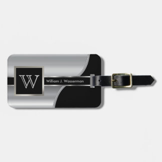 Silver Metal Masculine Monogram Executive Style Luggage Tag