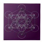 "Silver Metal Metatron&#39;s Cube Ceramic Tile<br><div class=""desc"">This design is derived from the Fruit of Life and is part of sacred geometry. It is named after the archangel Metatron and is thought to contain all of the possible forms of creation and reality. The design was created to imitate the look of a metal conductive matrix.</div>"