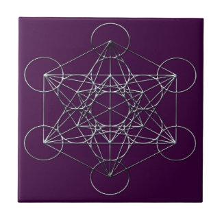 Silver Metal Metatron's Cube Ceramic Tile