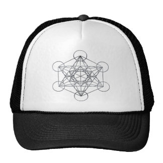 Silver Metal Metatron's Cube Trucker Hat