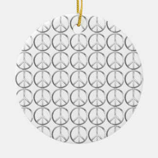 Silver Metal Peace Symbol Ceramic Ornament